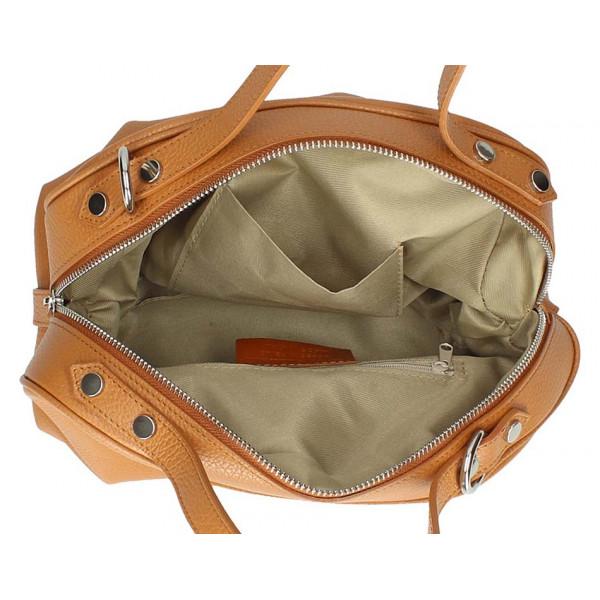Šedohnedá kožená kabelka 592 Made in Italy Šedohnedá