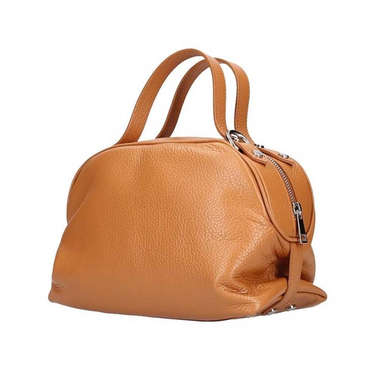 Genuine Leather Handbag 592 cognac Made in Italy