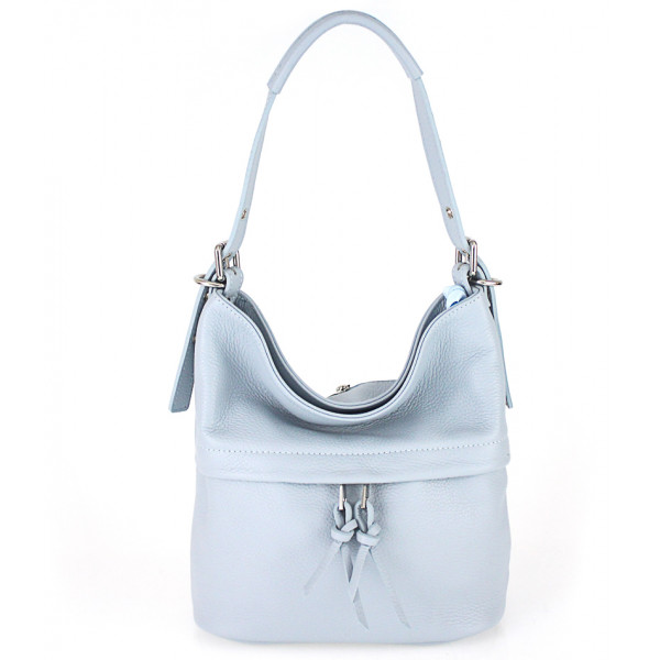 Nebesky modrá kožená kabelka na rameno 631