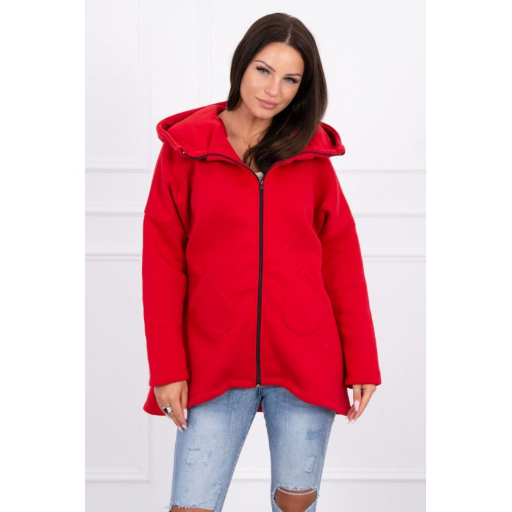 Ladies sweatshirt with extended back and hood MI8955 red