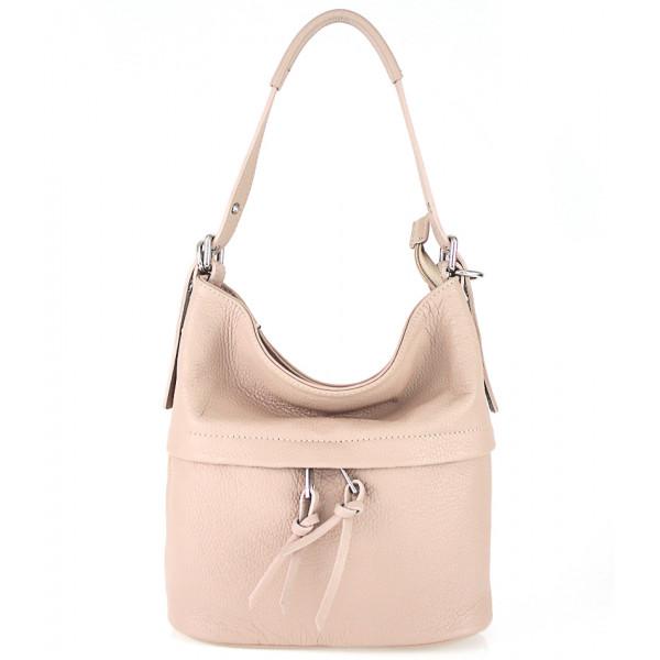 Ružová kožená kabelka na rameno 631
