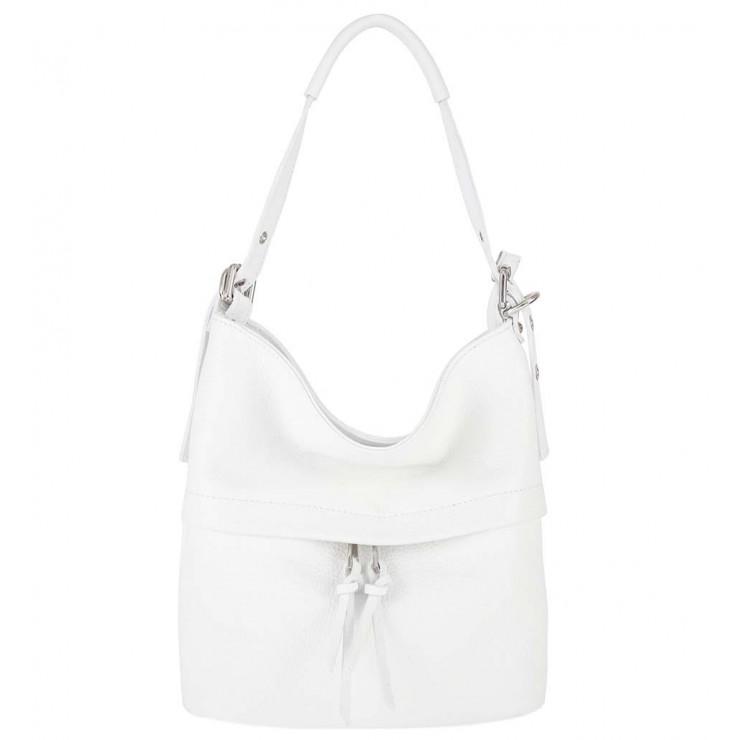 Bílá kožená kabelka na rameno 631