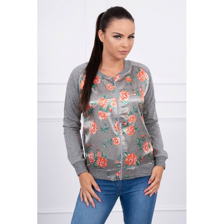 Sweatshirt with flowers MI8578 orange