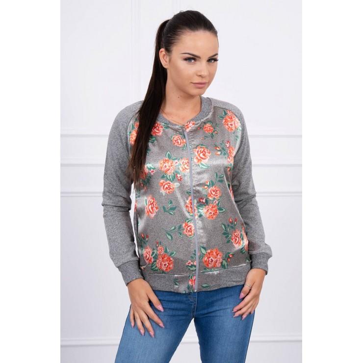 Sweatshirt with flowers MI8578 orange