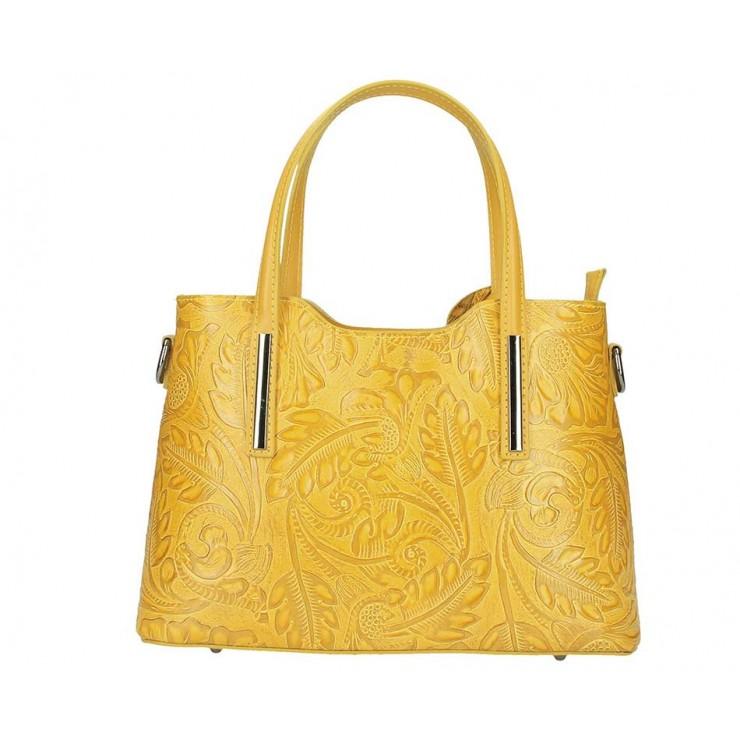 Genuine Leather Handbag 1493 mustard