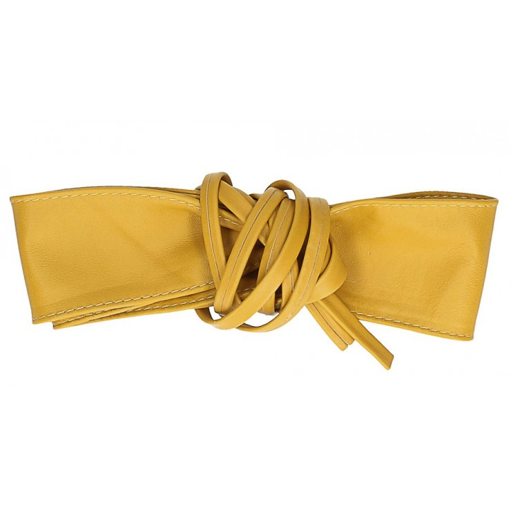 Genuine Leather sash belt 839 mustard
