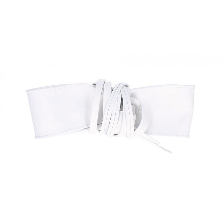 Dámsky kožený opasok na šnúrovanie 839 biely