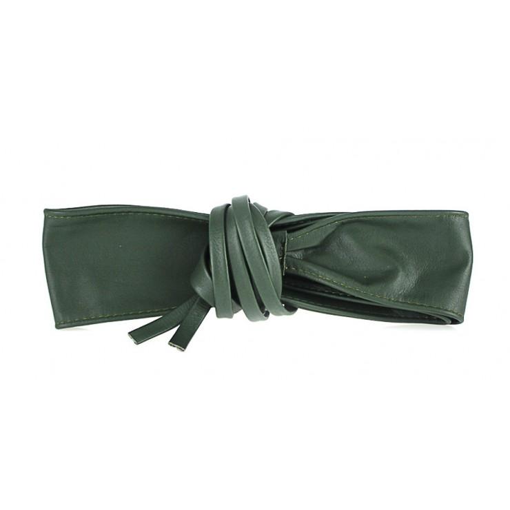 Dámsky kožený opasok na viazanie 839 zelený