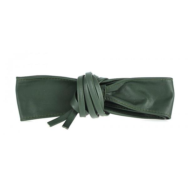 Dámsky kožený opasok na viazanie 839 zelený Zelená 85 cm