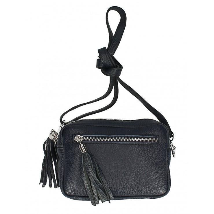 Dámska kožená kabelka na rameno 760 tmavomodrá