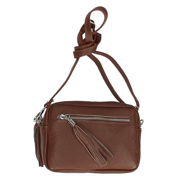 Dámska kožená kabelka na rameno 760 hnedá