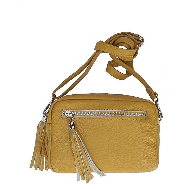 Dámska kožená kabelka na rameno 760 okrová