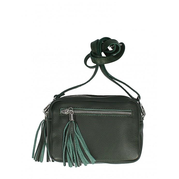 Dámska kožená kabelka na rameno 760 tmavozelená