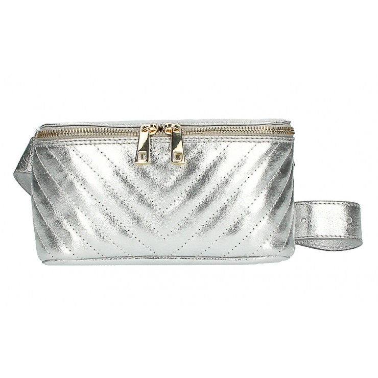 Woman Leather Waist Bag MI567 Made in Italy silver