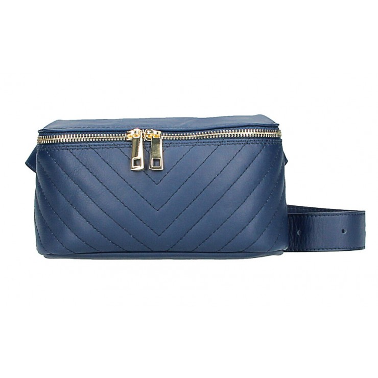 Woman Leather Waist Bag MI567 Made in Italy blue