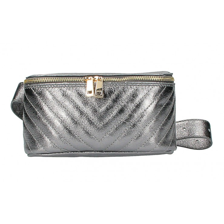 Woman Leather Waist Bag MI567 Made in Italy metalic gray