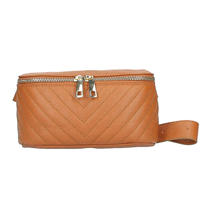 Woman Leather Waist Bag MI567 Made in Italy cognac
