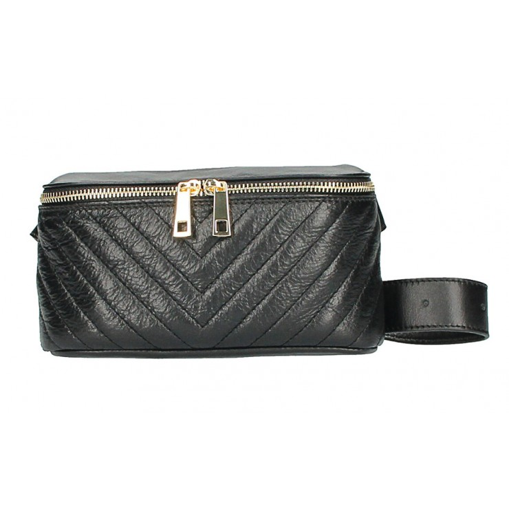 Woman Leather Waist Bag MI567 Made in Italy black