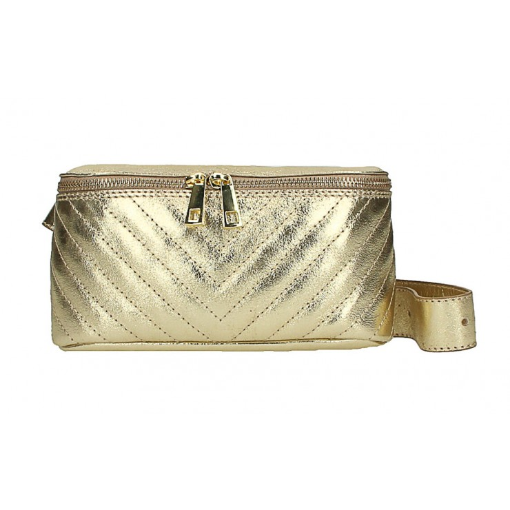 Woman Leather Waist Bag MI567 Made in Italy gold