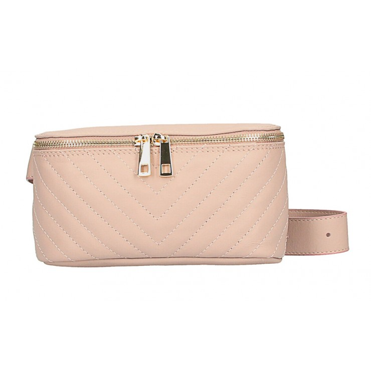 Woman Leather Waist Bag MI567 Made in Italy powder pink