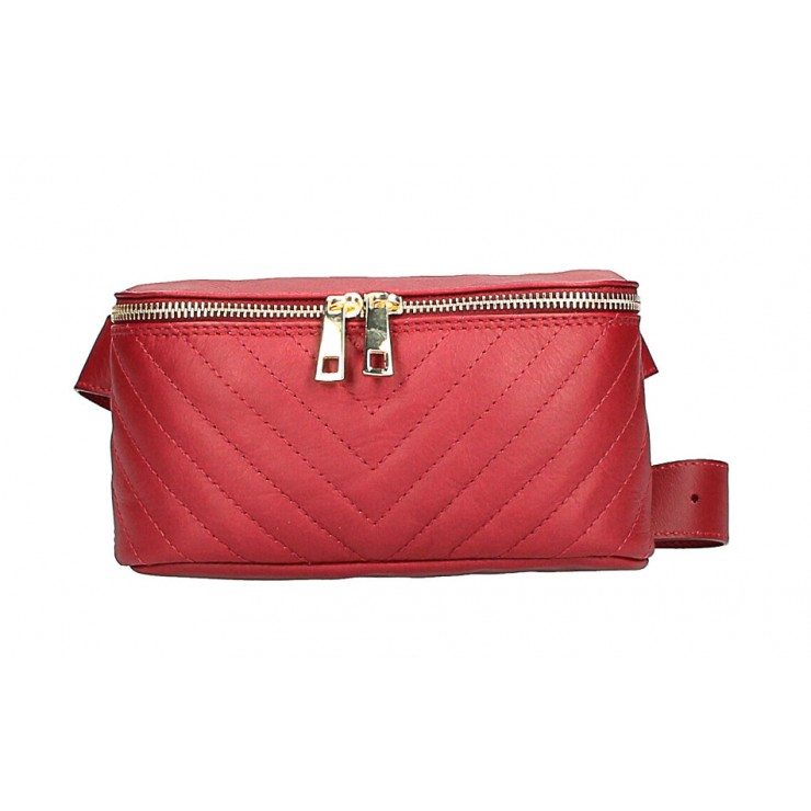 Woman Leather Waist Bag MI567 Made in Italy red