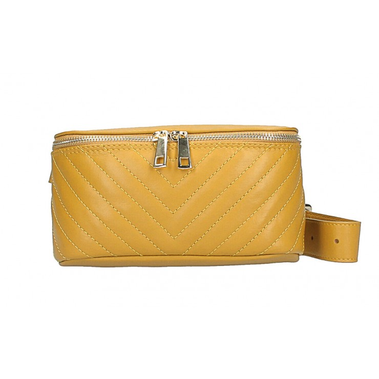 Woman Leather Waist Bag MI567 Made in Italy mustard