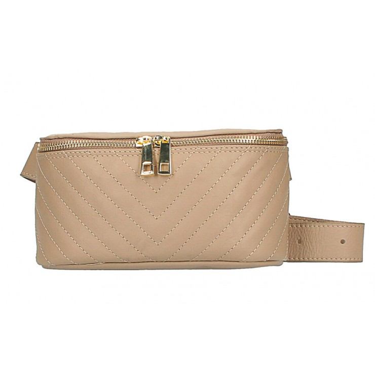Woman Leather Waist Bag MI567 Made in Italy taupe