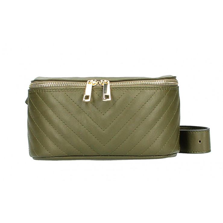 Woman Leather Waist Bag MI567 Made in Italy military green