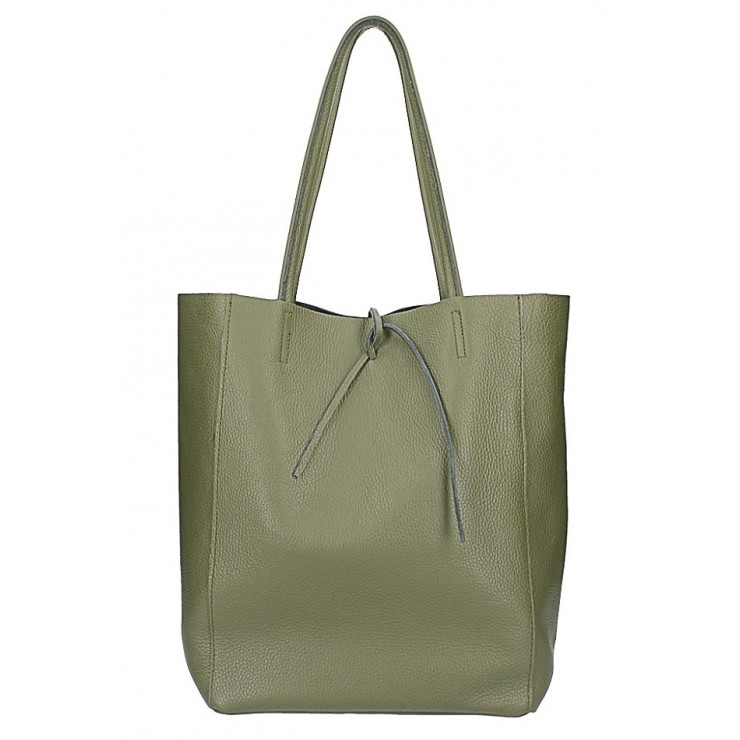 Genuine Leather Maxi Bag 396 military green