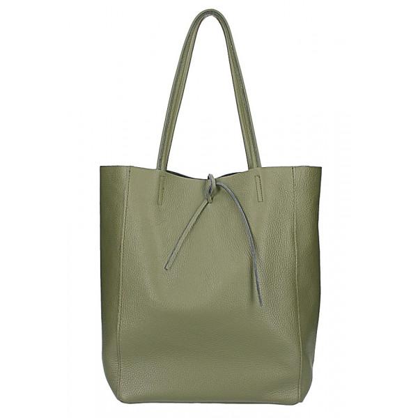 Kožená shopper kabelka 396 vojensky zelená