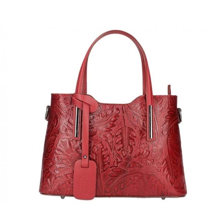 Červená kožená kabelka 1493
