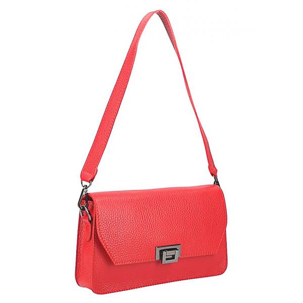 Dámska kožená kabelka MI200 Made in Italy červená