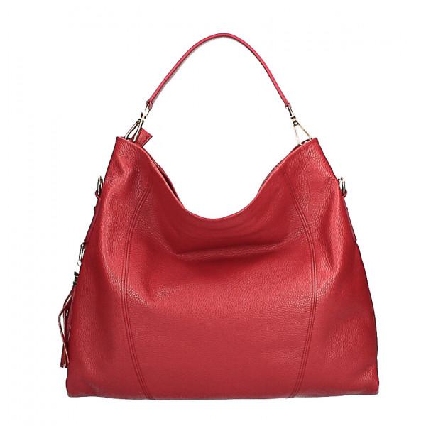 Kožená kabelka na rameno MI260 Made in Italy červená