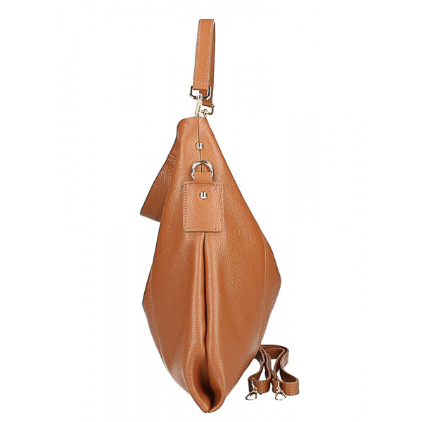 Kožená kabelka na rameno MI260 Made in Italy tmavohnedá