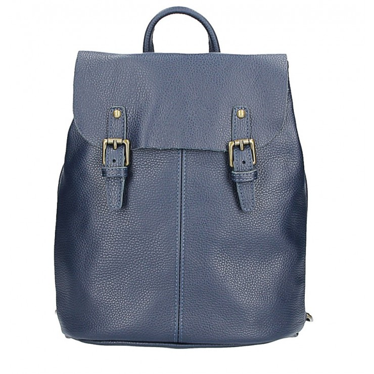 Leather backpack MI202 Made in Italy blue