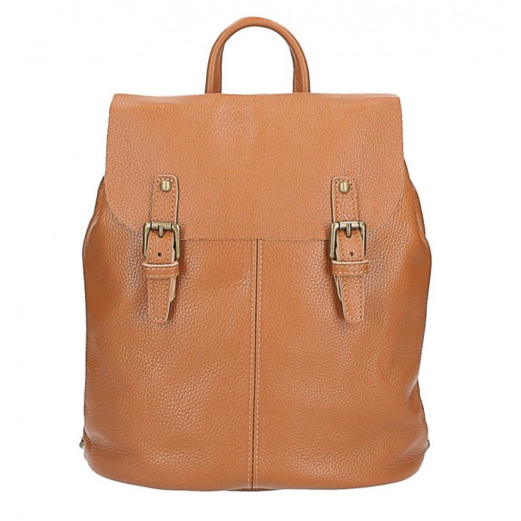 Leather backpack MI202 Made in Italy cognac