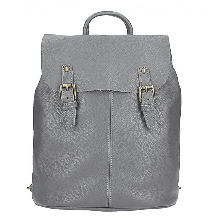 Leather backpack MI202 Made in Italy dark gray
