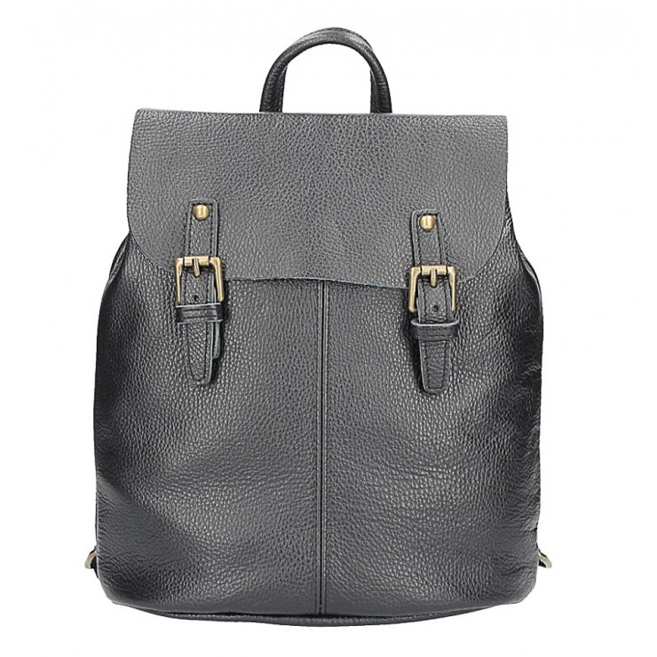 Leather backpack MI202 Made in Italy black