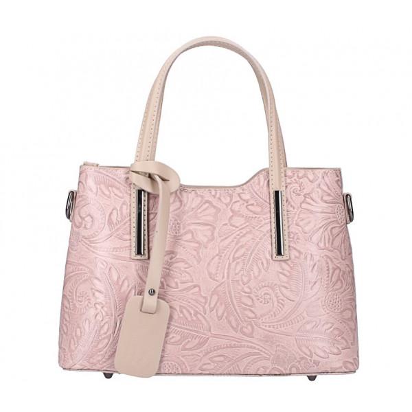 Ružová kožená kabelka 1493