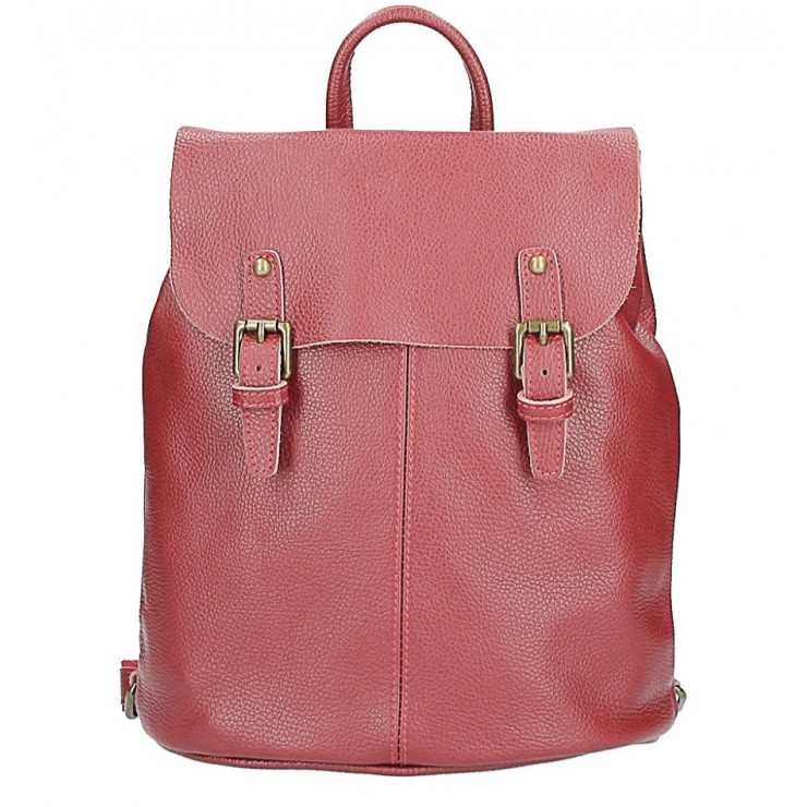 Leather backpack MI202 Made in Italy dark red