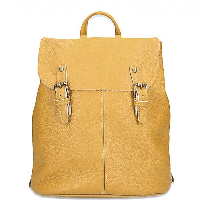 Leather backpack MI202 Made in Italy mustard