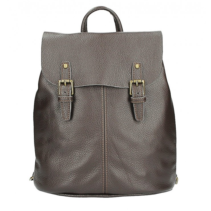 Leather backpack MI202 Made in Italy dark brown