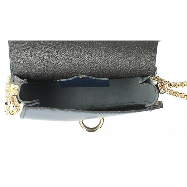 Kožená kabelka na rameno MI198 Made in Italy strieborná