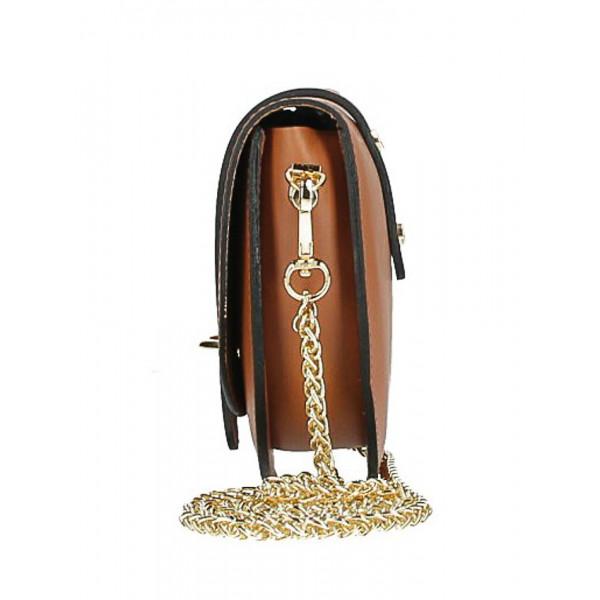 Kožená kabelka na rameno MI198 Made in Italy koňaková
