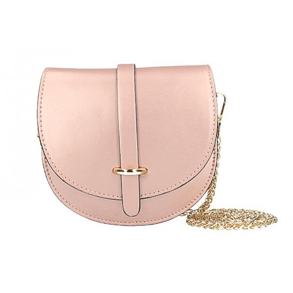 Kožená kabelka na rameno MI198 Made in Italy ružová metalíza Ružová
