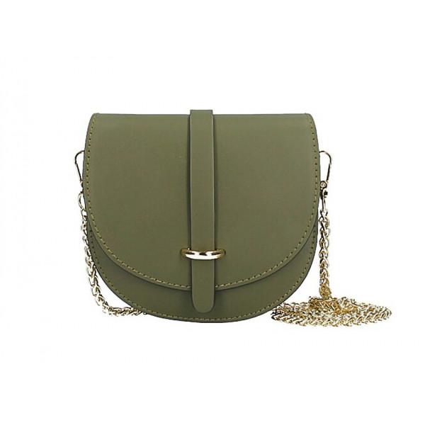 Kožená kabelka na rameno MI198 Made in Italy vojensky zelená