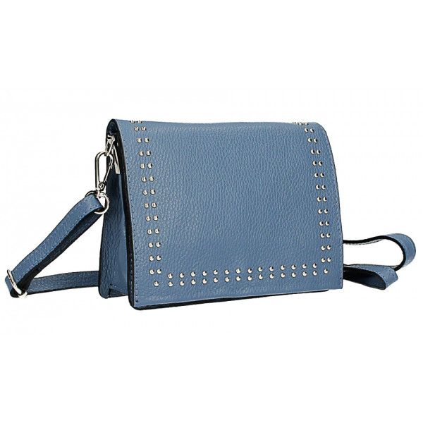 Kožená kabelka s cvokmi MI199 Made in Italy nebesky modrá
