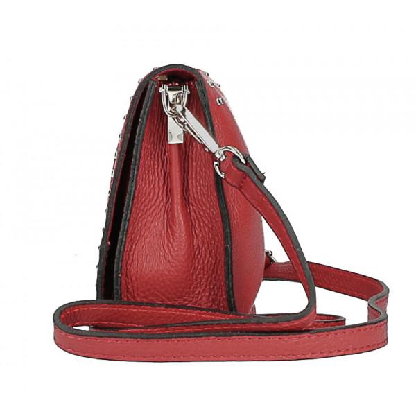 Kožená kabelka s cvokmi MI199 Made in Italy koňaková