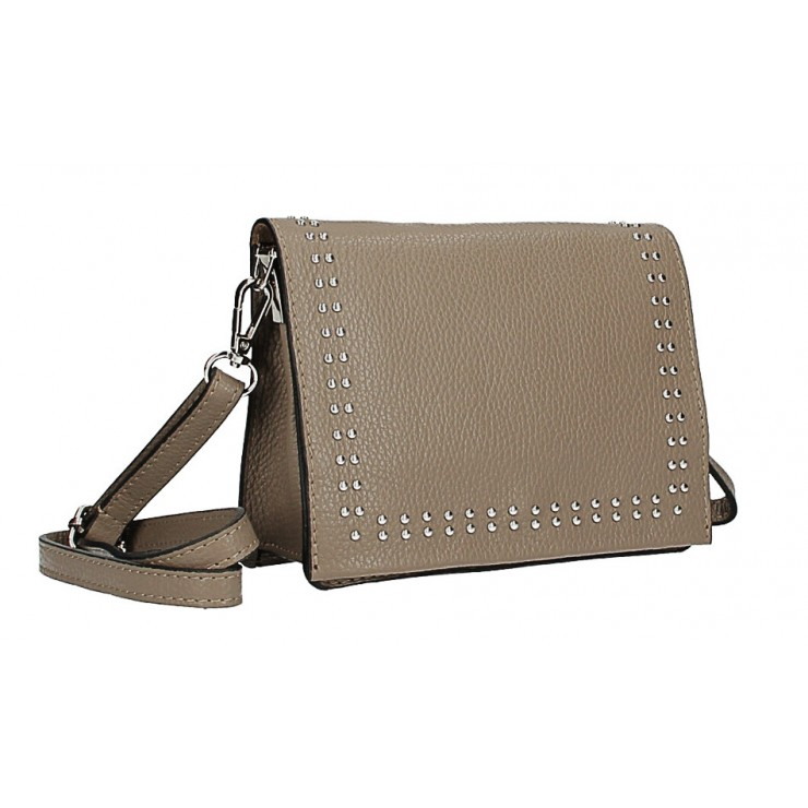 Leather Handbag  MI199 Made in Italy dark taupe