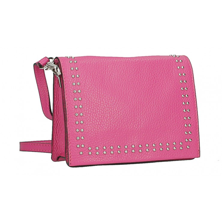 Leather Handbag  MI199 Made in Italy fuxia